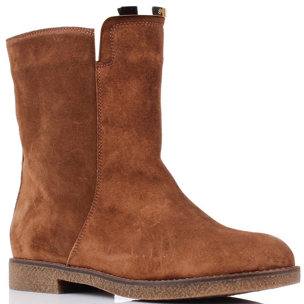 Замшевые ботинки Renzi коричневого цвета с широким голенищем