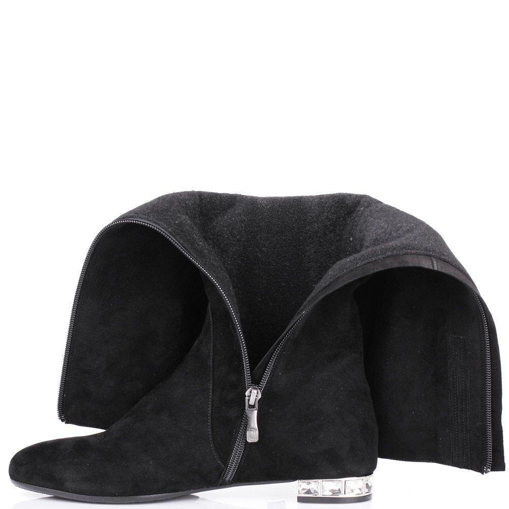 Сапоги Giovanni Fabiani осенние замшевые черного цвета с кристалликами на каблуке