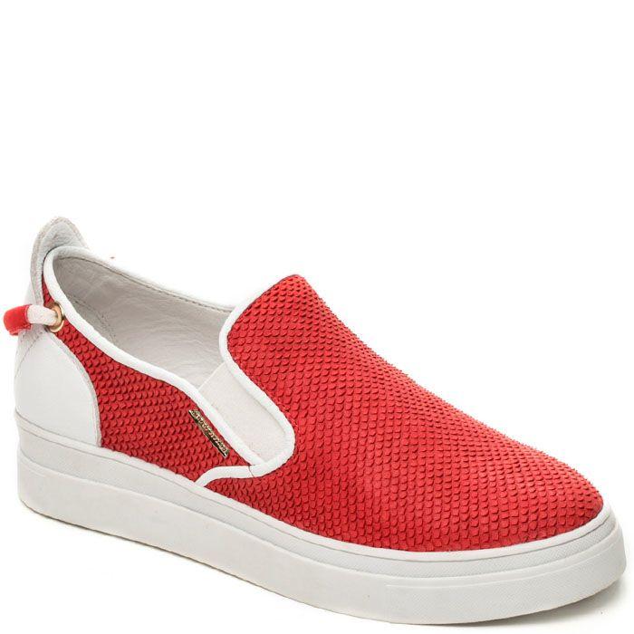Слипоны Modus Vivendi красно-белые из фактурной кожи