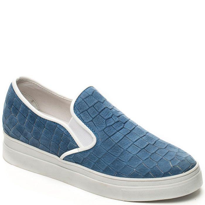 Слипоны Modus Vivendi синего цвета с имитацией кожи рептилии