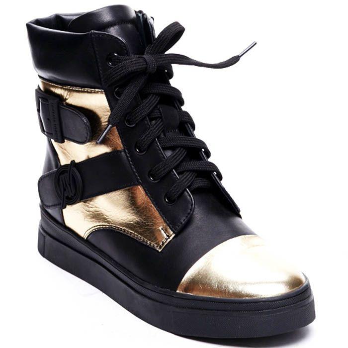 Высокие кожаные кеды черного цвета Modus Vivendi с золотистыми деталями