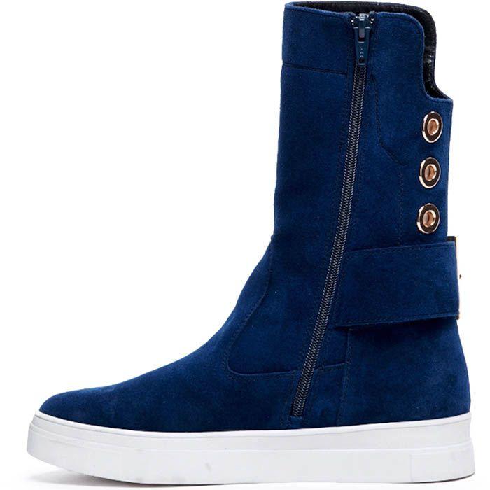 Замшевые высокие ботинки синего цвета Modus Vivendi с металлическим декором