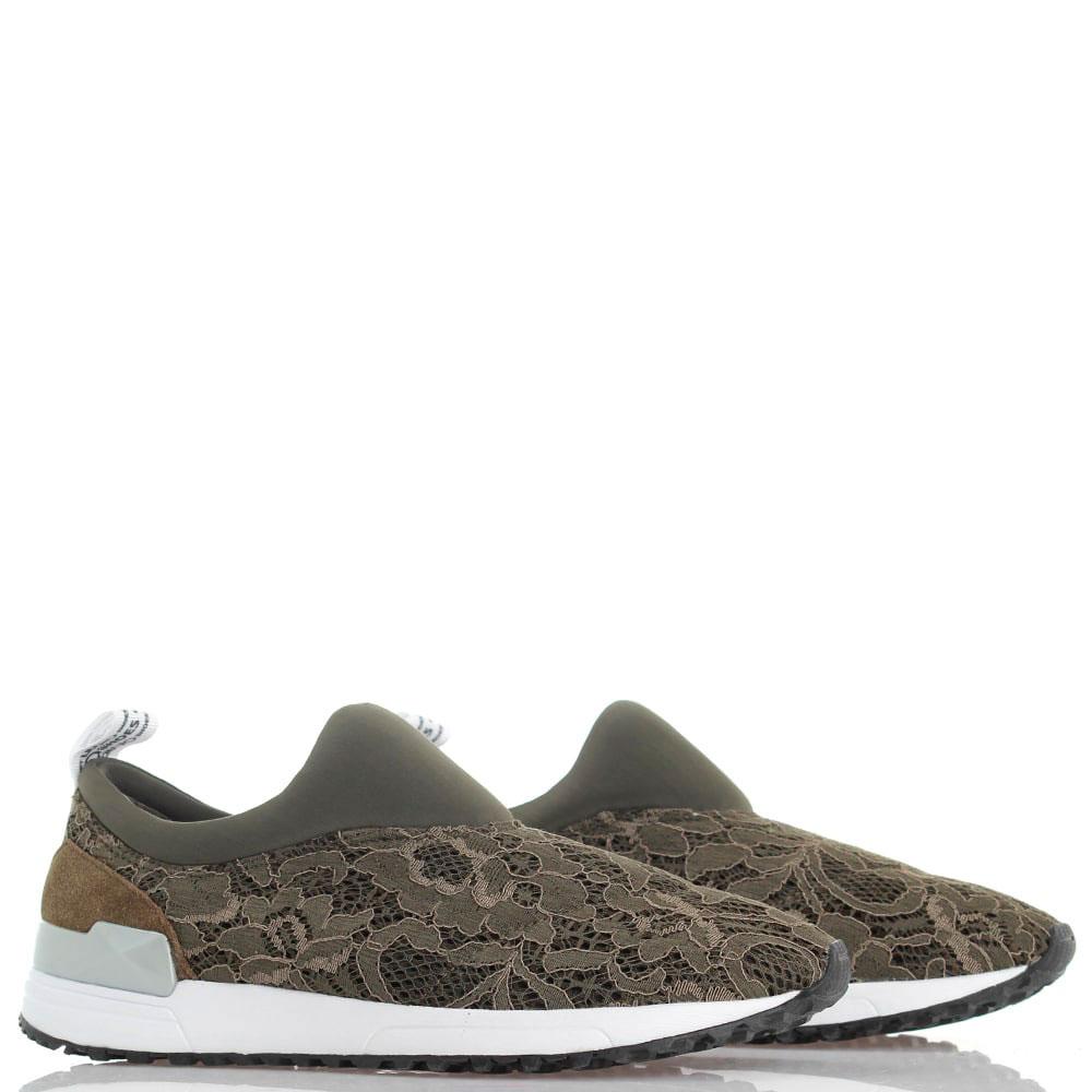 Кружевные кроссовки Liu Jo без шнуровки цвета хаки