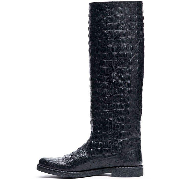 Сапоги из тисненой под крокодила кожи Modus Vivendi черного цвета