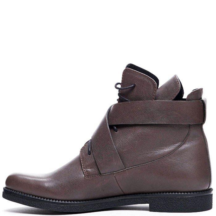 Кожаные ботинки коричневого цвета Modus Vivendi на шнуровке и ремешках