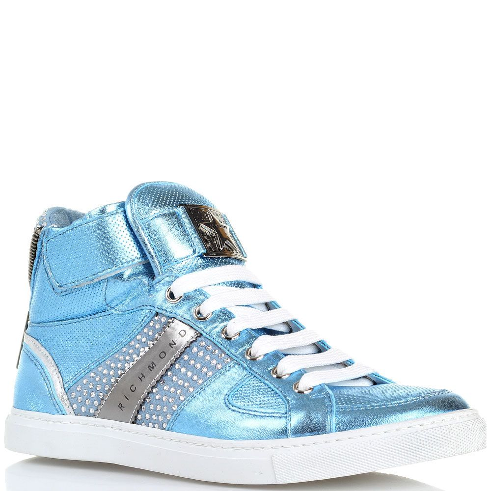 Высокие кожаные кеды голубого цвета с металлическим блеском Richmond
