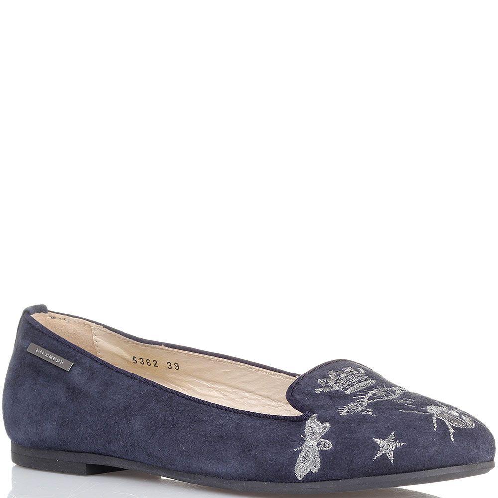 Замшевые балетки синего цвета декорированные вышивкой Richmond
