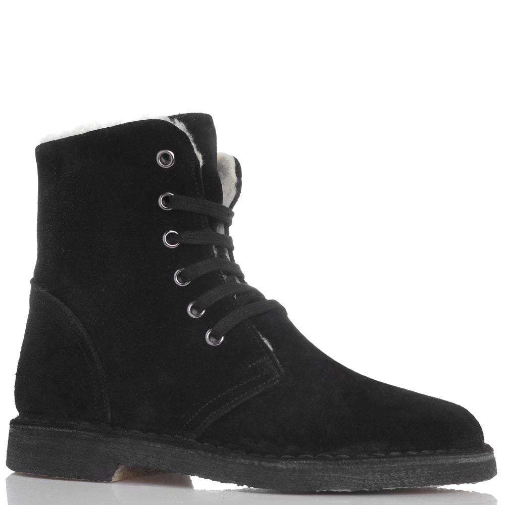 Зимние замшевые ботинки Gianni Famoso черного цвета