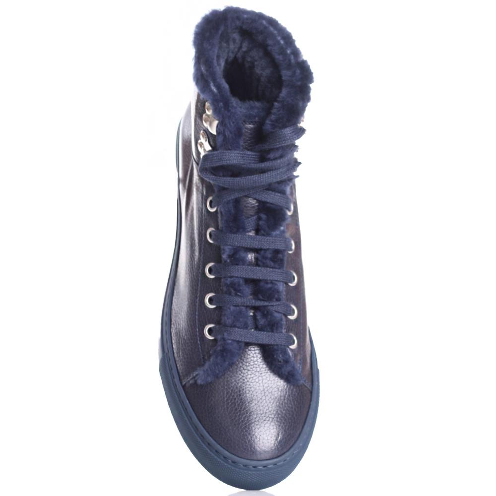 Синие ботинки Camerlengo из зернистой кожи
