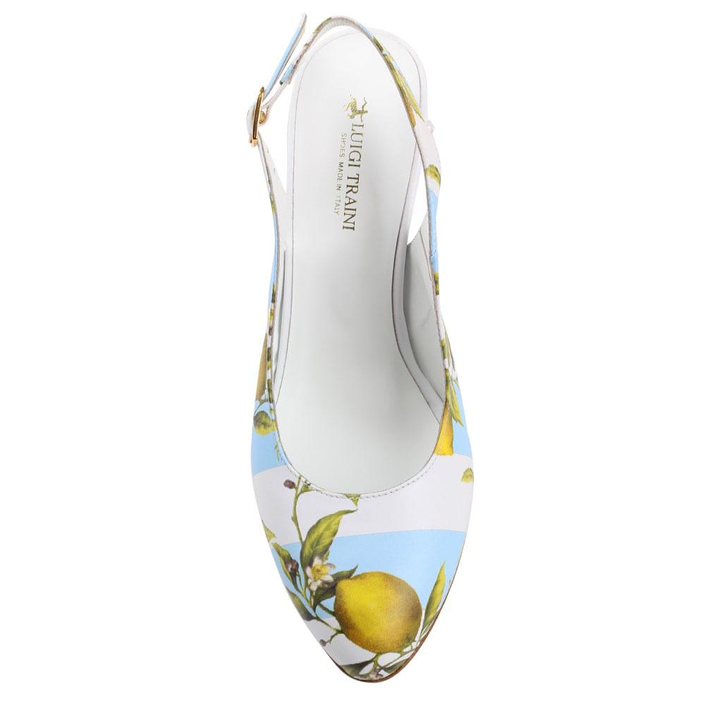 Босоножки с закрытым носочком белые с голубым Luigi Traini с изображением лимона