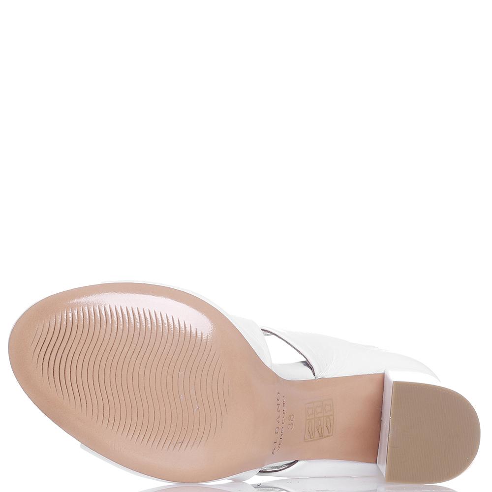 Белые мюли Albano на толстом каблуке