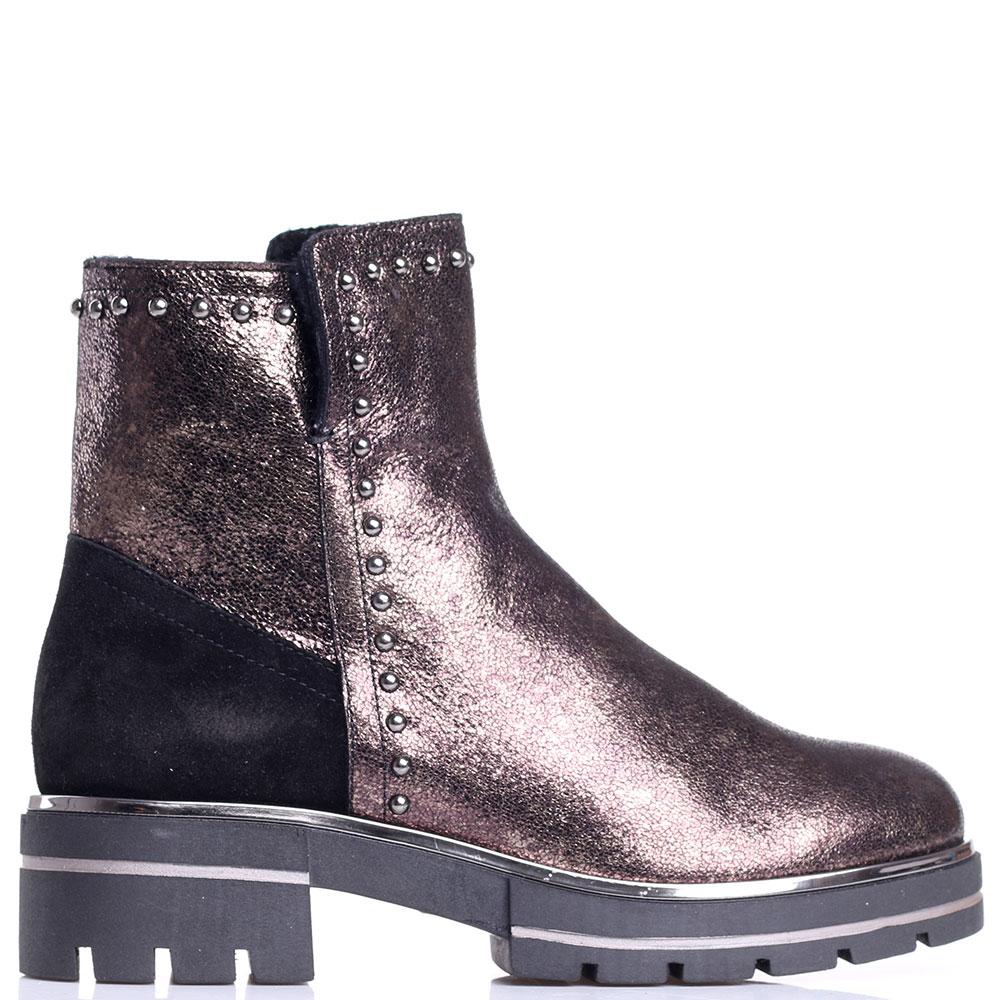 Ботинки Tine's золотистого цвета с текстильными элементами