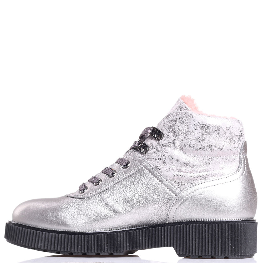 Ботинки Tine's серебристого цвета на меху