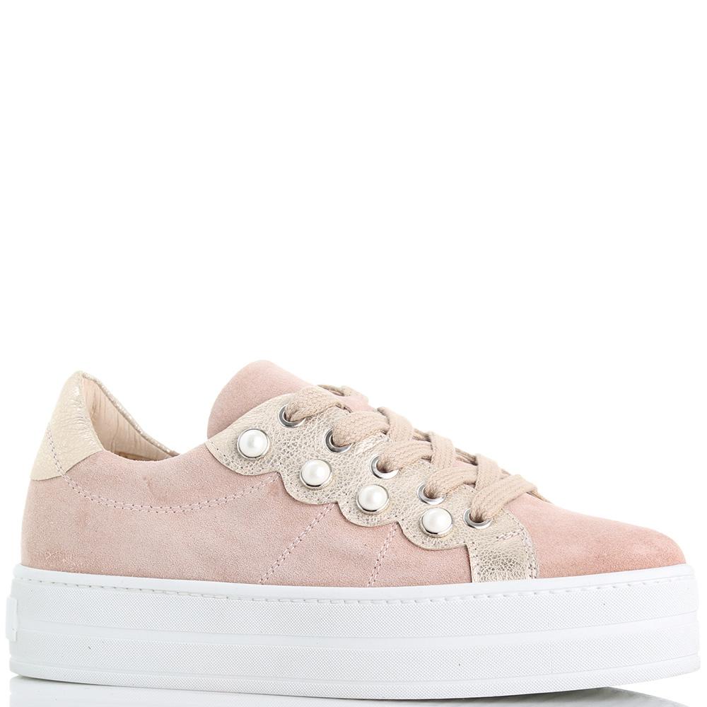 Замшевые кеды Tine's розового цвета на платформе