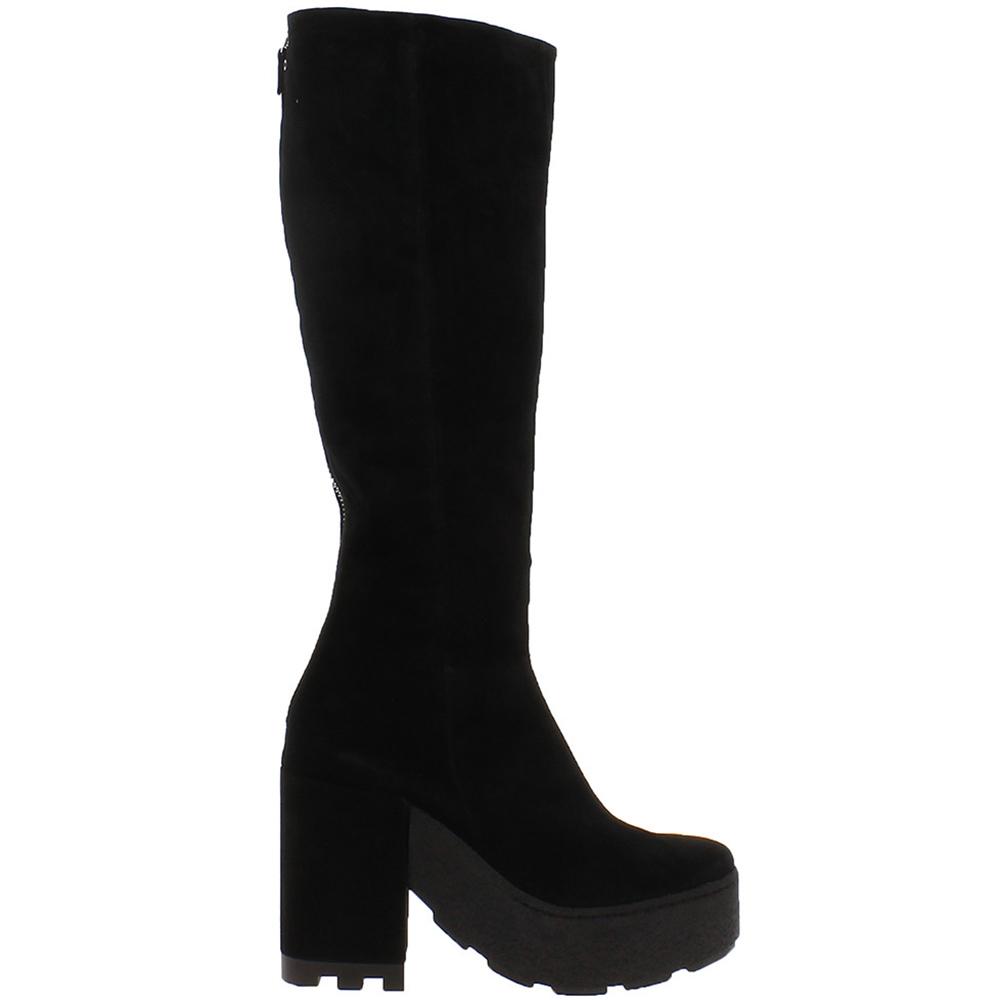 Черные замшевые сапоги Vic Matie на платформе и толстом каблуке