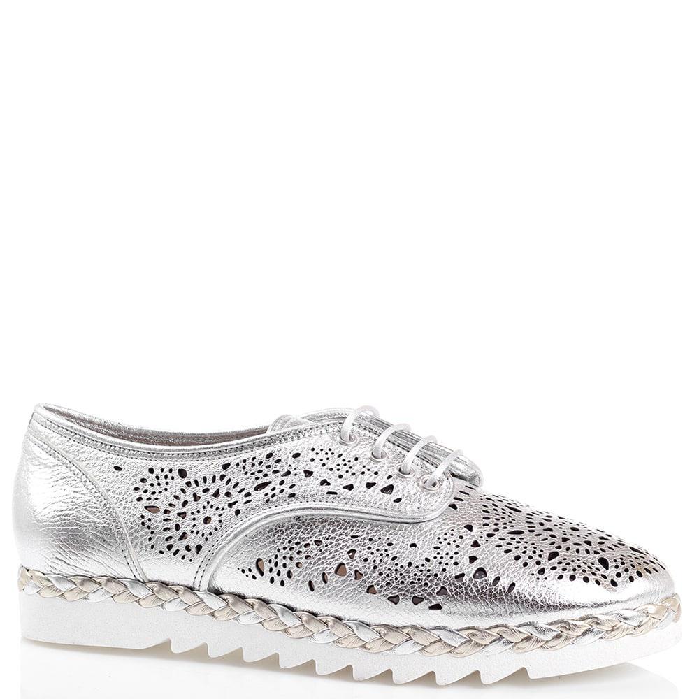 Туфли с декоративной перфорацией Marzetti серебристого цвета