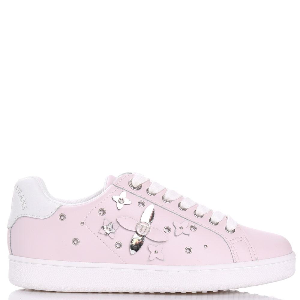 Розовые кроссовки Trussardi Jeans с аппликацией