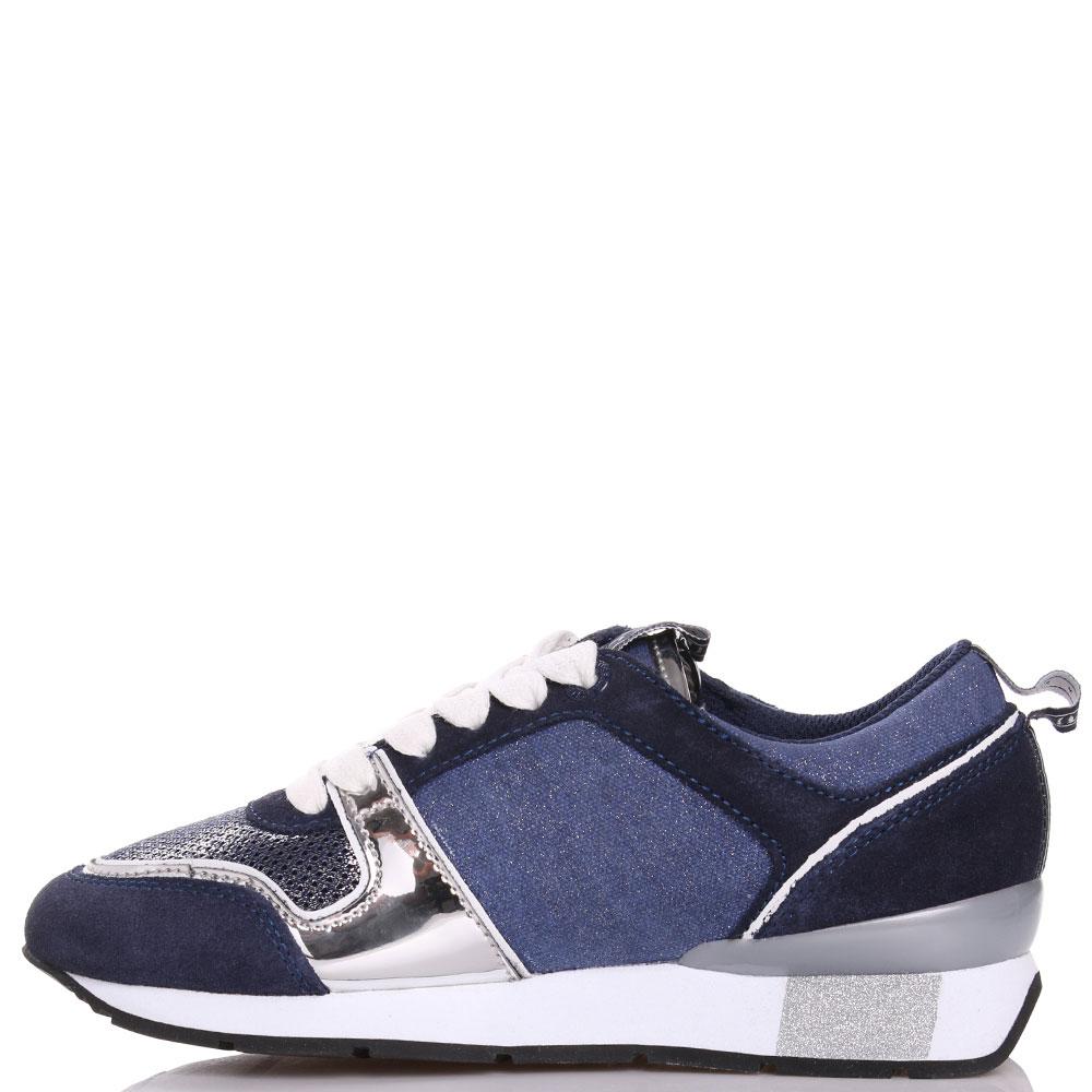 Синие кроссовки Trussardi Jeans с серебристыми элементами