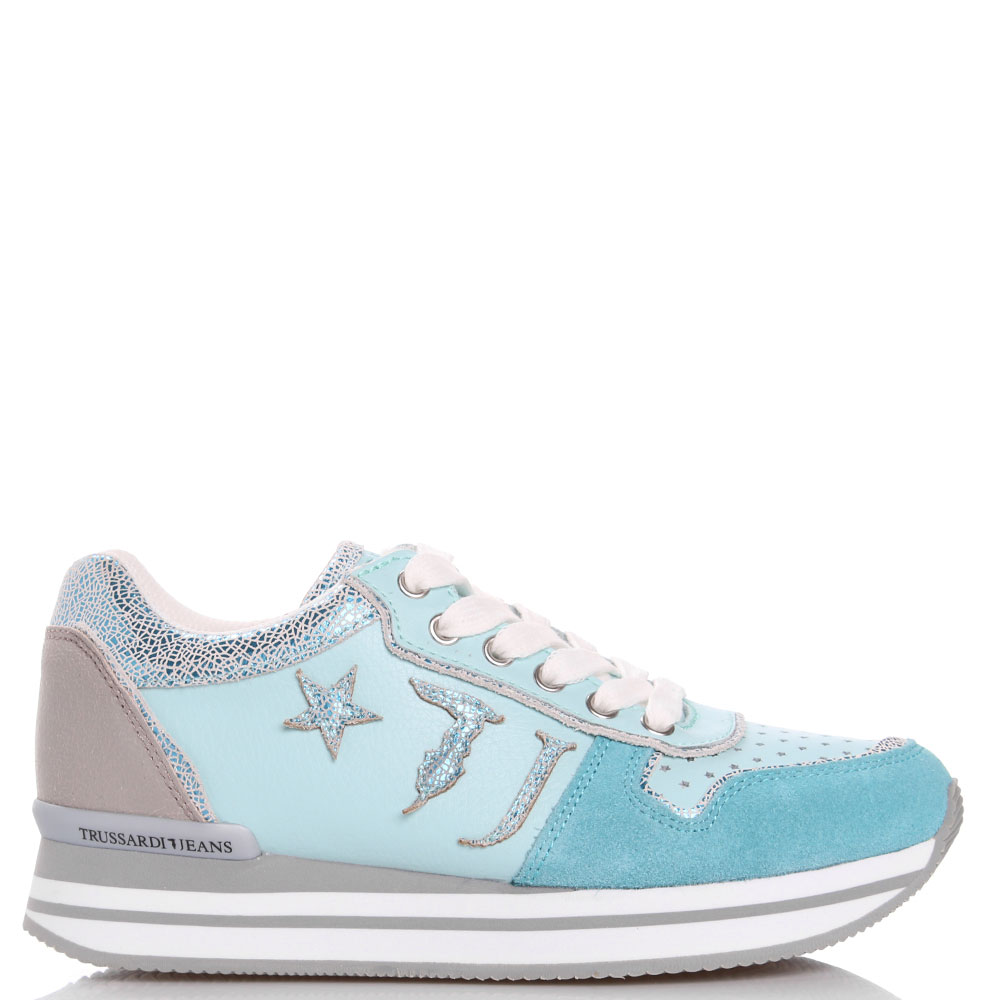 Мятные кроссовки Trussardi Jeans со звездочками