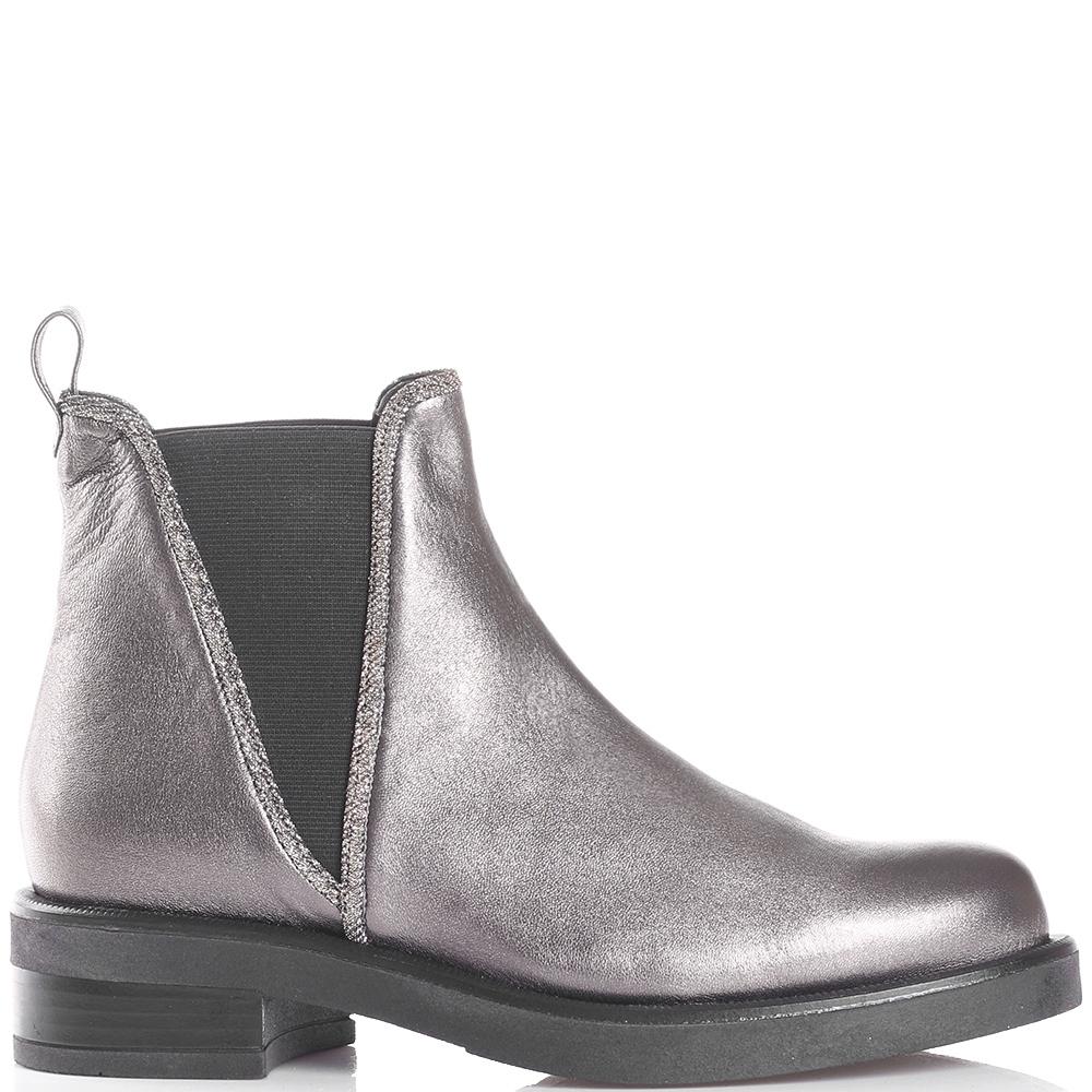 Серебристые ботинки Albano с эластическими вставками