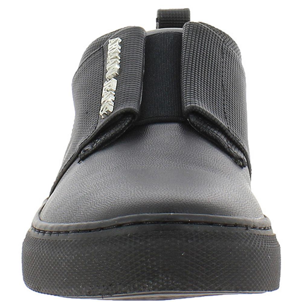 Черные кожаные слипоны Armani Jeans на резинке