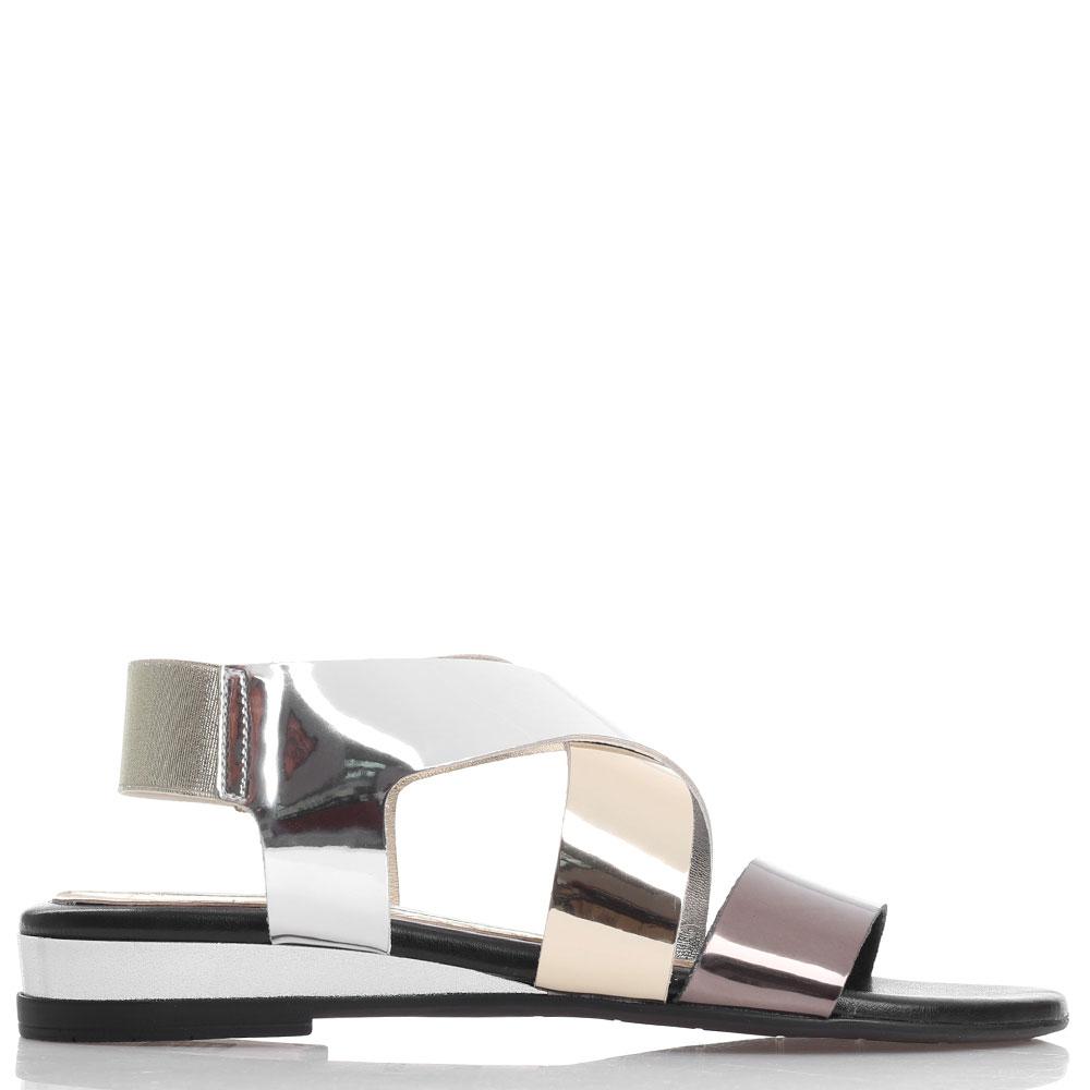 Трехцветные лаковые сандалии Nr Rapisardi на резинке