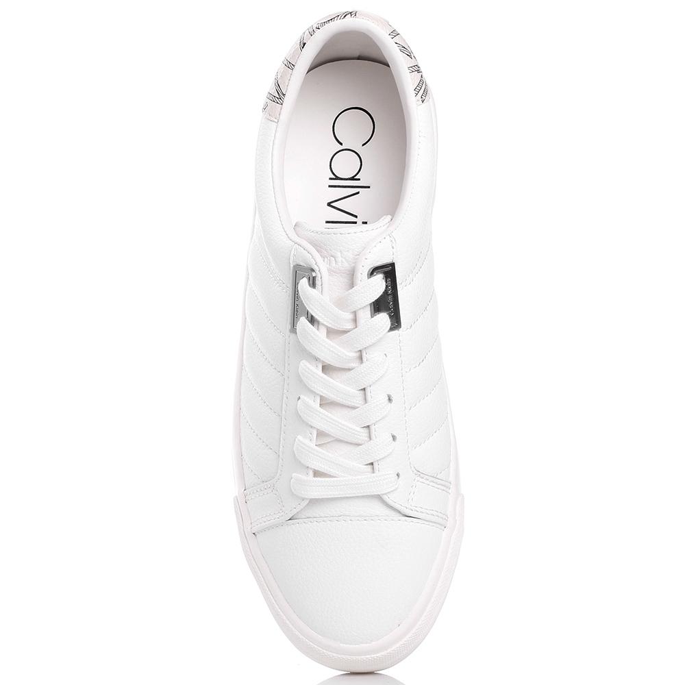 Белые кеды Calvin Klein из мягкой кожи