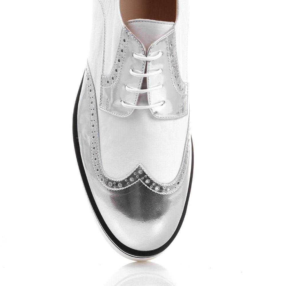 Белые броги Redwood с серебристым носочком