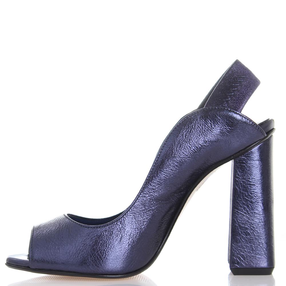Босоножки Giancarlo Paoli синего цвета на устойчивом каблуке