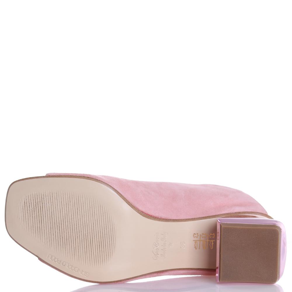 Розовые босоножки Giancarlo Paoli на устойчивом каблуке