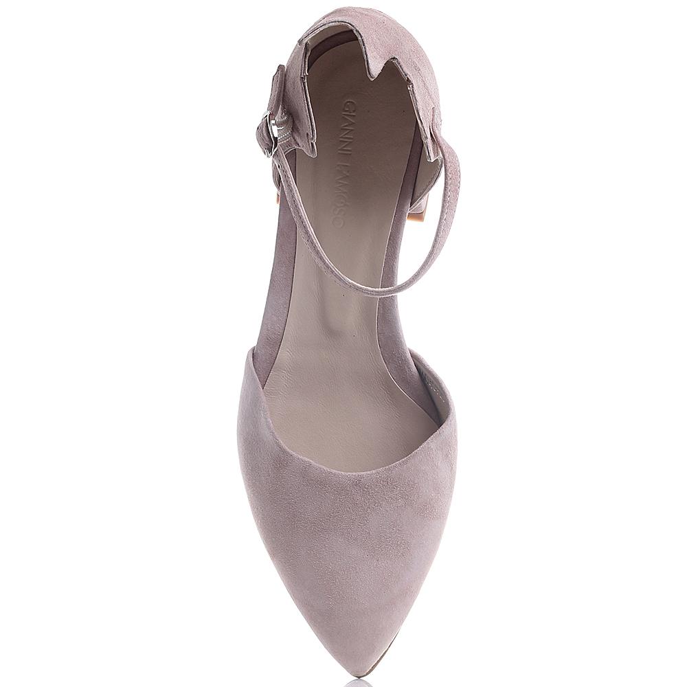 Розовые туфли Gianni Famoso из замши на низком каблуке