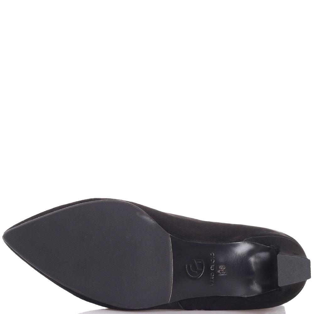 Замшевые ботильоны Gianni Famoso черного цвета на маленьком каблуке