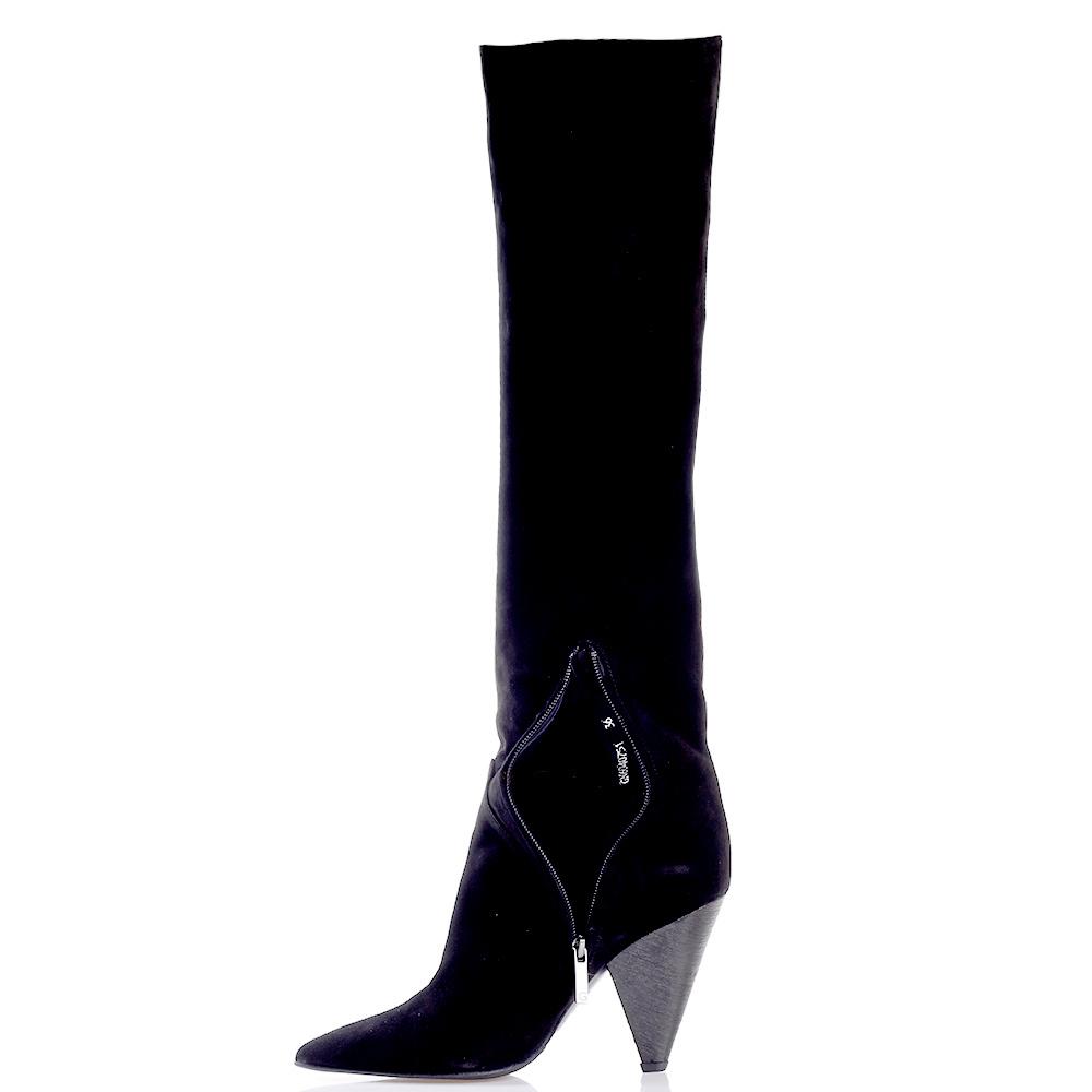 Черные сапоги Gianni Famoso на треугольном каблуке