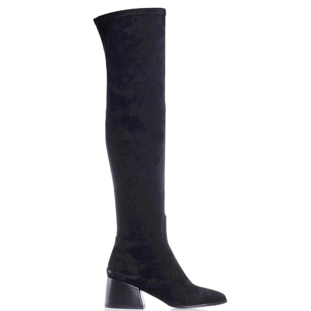 Черные ботфорты Gianni Famoso с острым носочком