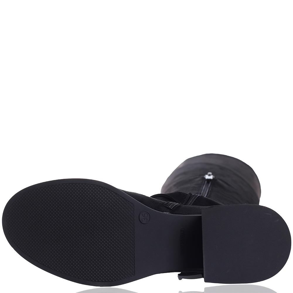 Черные ботфорты Gianni Famoso с декором-ремешками