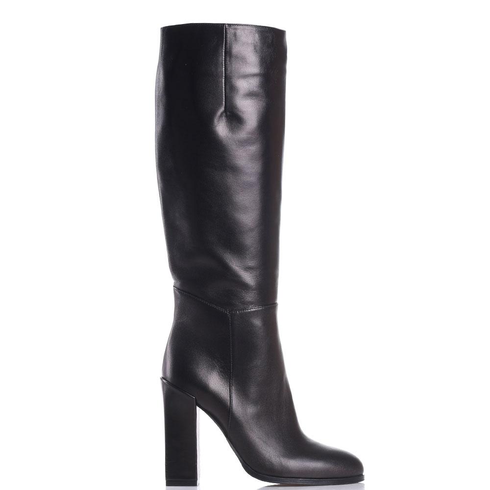 Черные кожаные сапоги Gianni Famoso на высоком каблуке