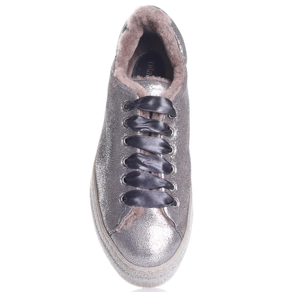 Серебристые кеды Nila&Nila с атласной шнуровкой