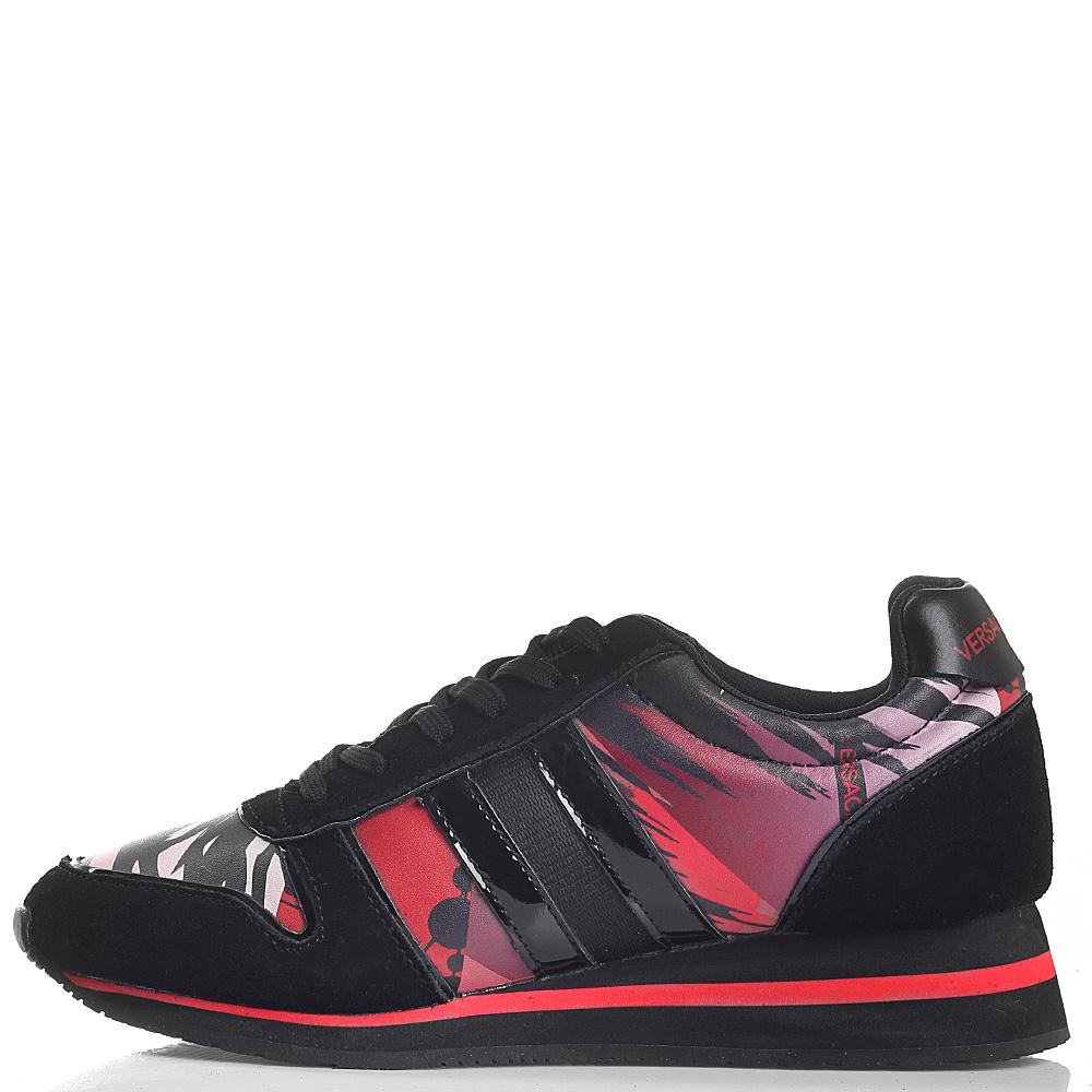 Черные кроссовки Versace Jeans с ярким принтом