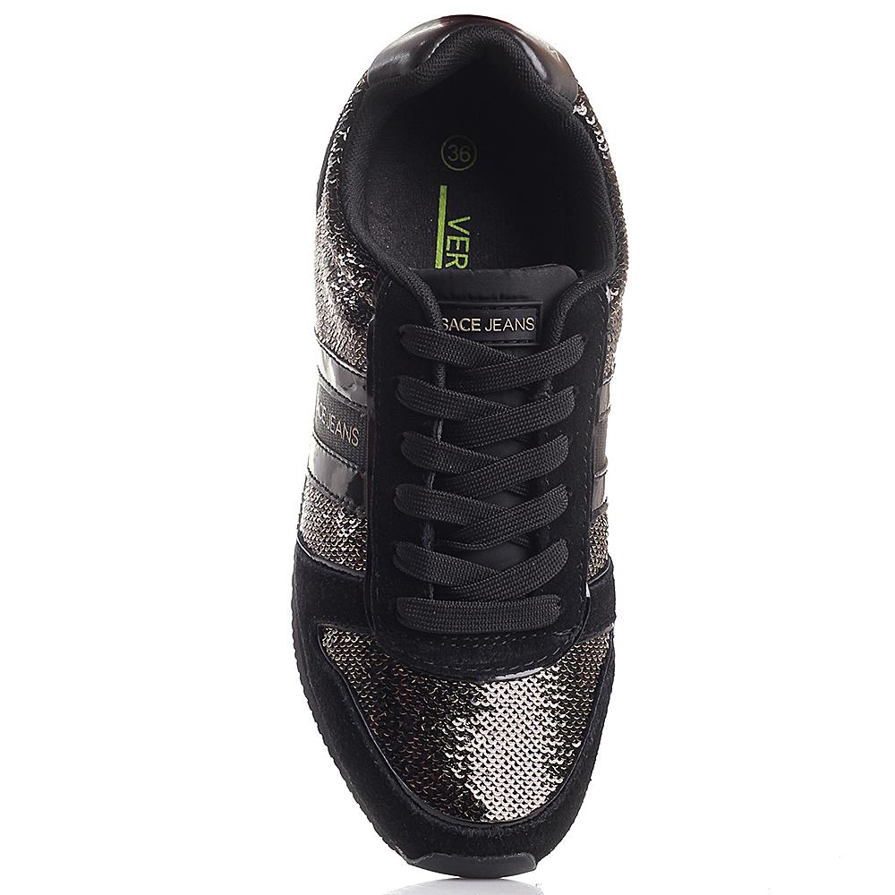 Черные кроссовки Versace Jeans в пайетках