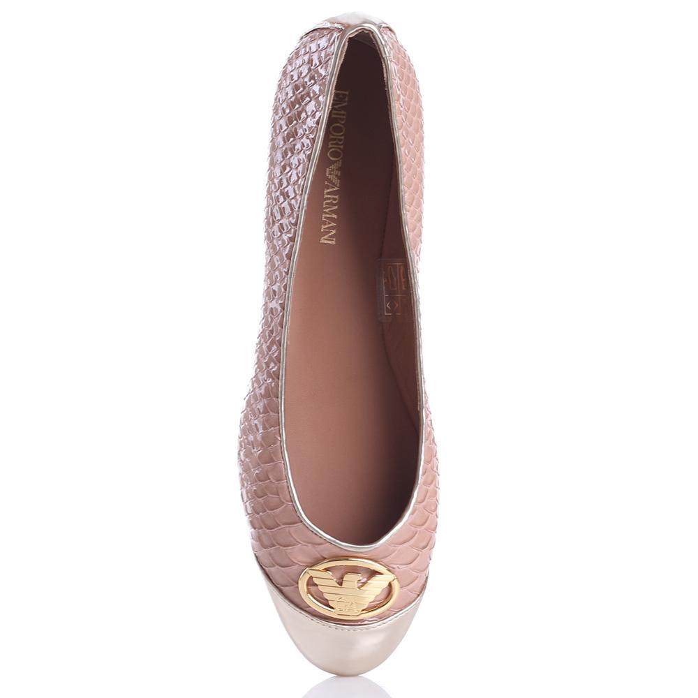 Бежевые туфли Emporio Armani с имитацией змеиной кожи