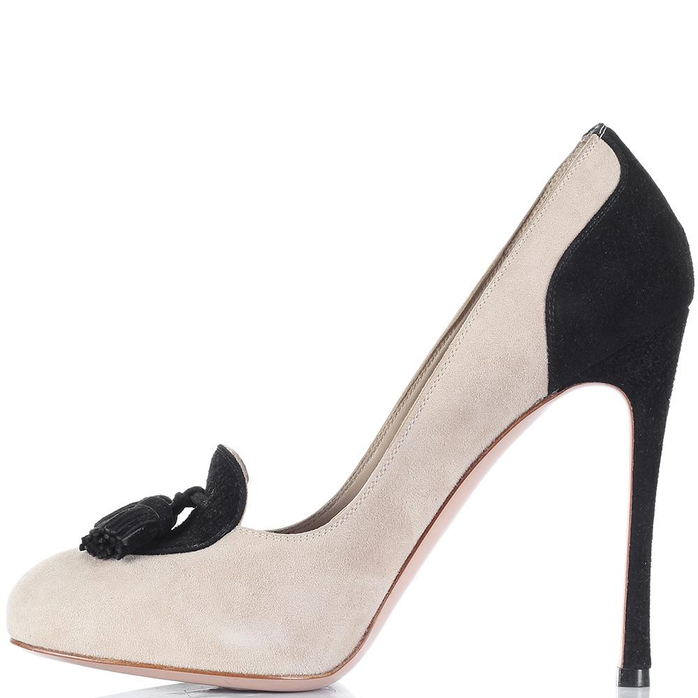 Замшевые туфли на шпильке Gianvito Rossi бежевые с черным