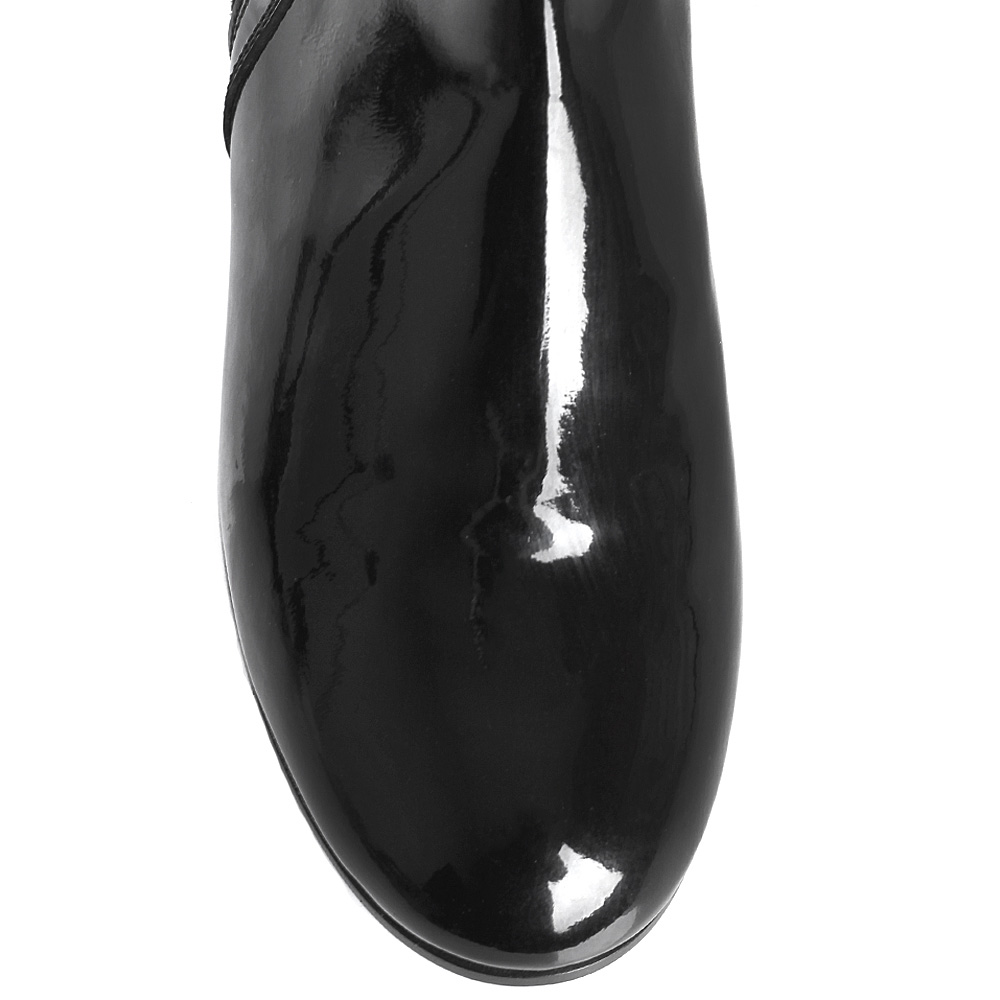 Черные лаковые ботинки Gianvito Rossi на низком ходу