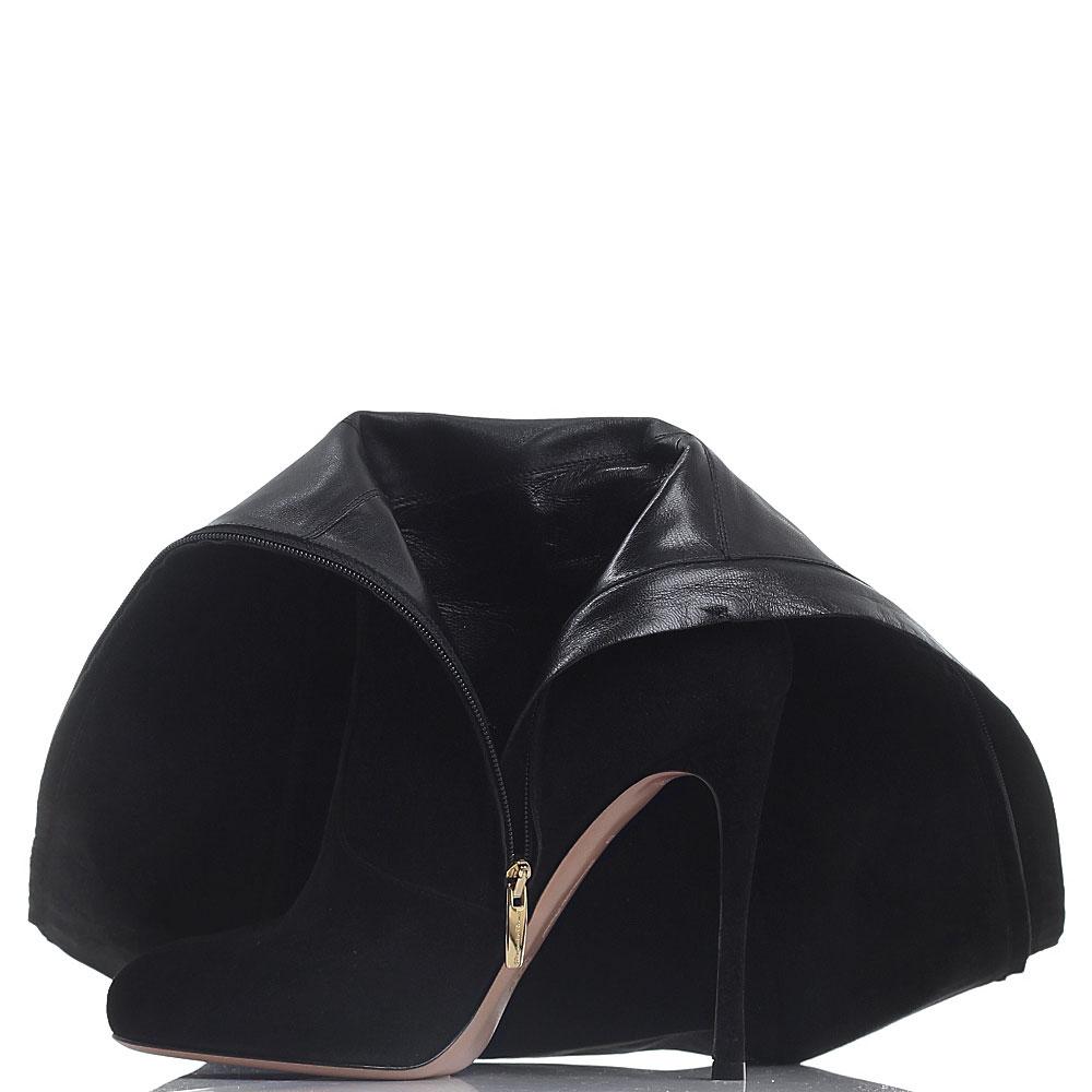 Замшевые сапоги Gianvito Rossi черного цвета на шпильке