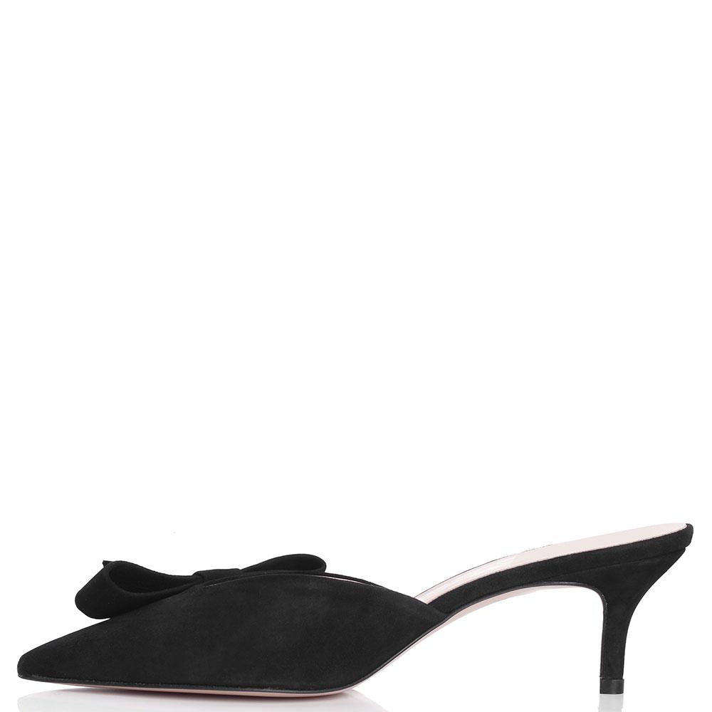 Замшевые черные мюли Bianca Di с острым носком