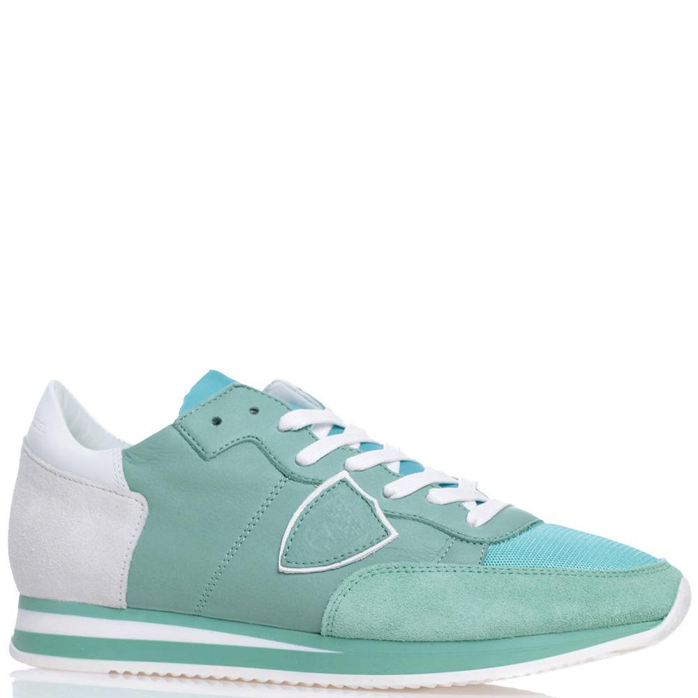 Женские кроссовки Philippe Model светло-зеленого цвета