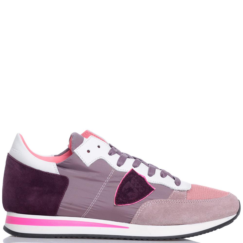 Спортивные кроссовки Philippe Model с замшевыми вставками