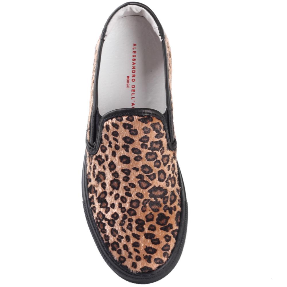 Слипоны Alessandro Dell'acqua с леопардовым принтом