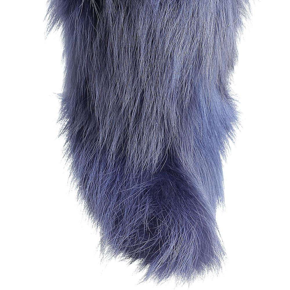 Меховые ботинки Strategia синего цвета с острым носком
