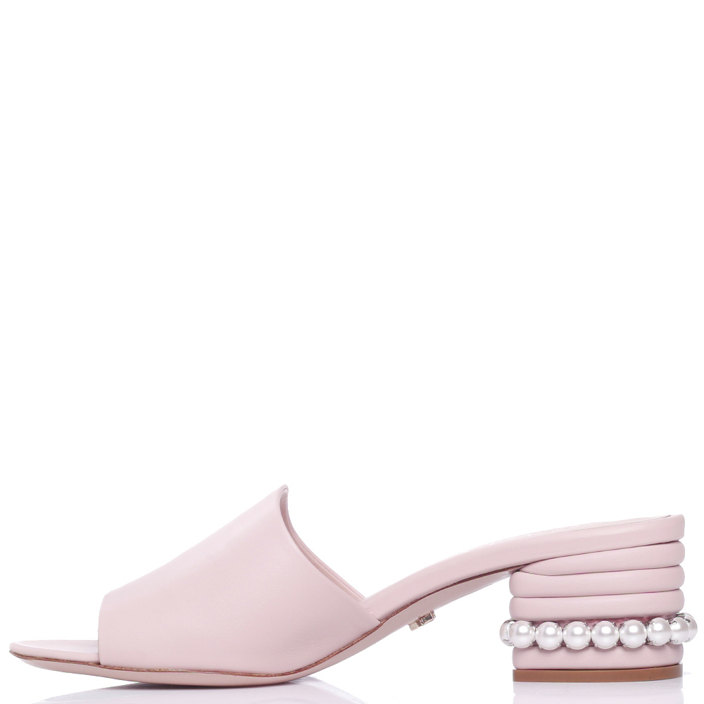 Розовые мюли Le Silla с декором-бусинами на каблуке