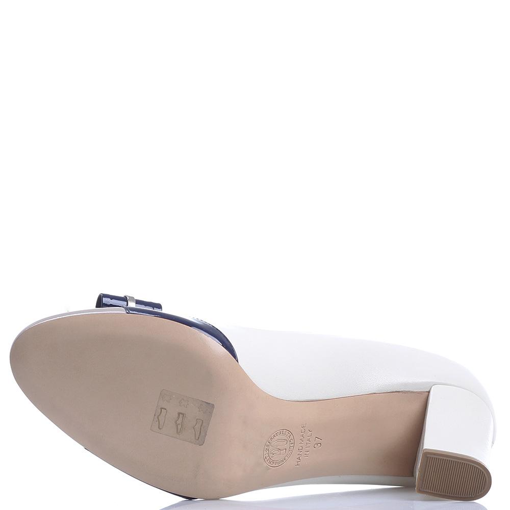 Бежевые туфли Dyva с бантом на устойчивом каблуке